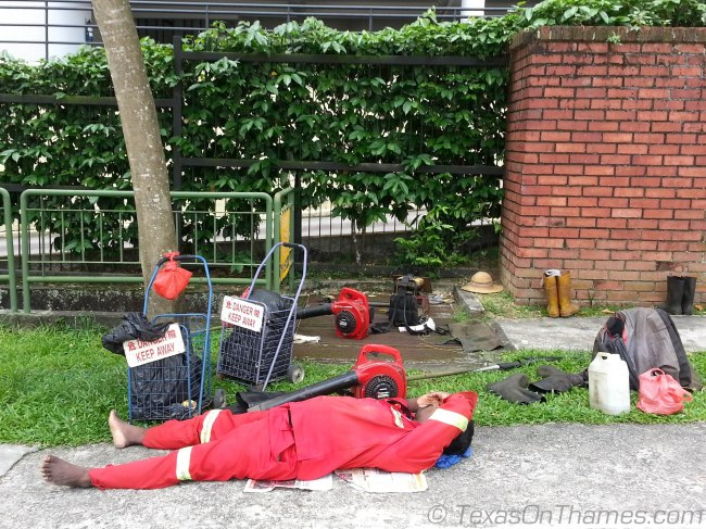 Singapore foreign worker on lunch break